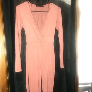 Pink suede jumpsuit - size small